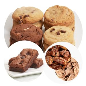 image on page for  Chocolate Lover's Combo with Nuts  / perceived to contain Cake, Dessert, Food, Bread, Muffin, Biscuit, Brownie, Chocolate, Cookie, Fudge, Cocoa, Donut, Pastry, Peanut Butter, Bakery, Shop