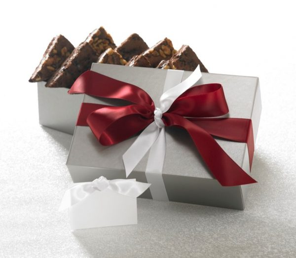image on page for  Silver Elegance Brownie Gift ($33.95-$64.99)  / perceived to contain Gift, Chocolate, Dessert, Food, Fudge, Furniture, Cushion, Home Decor, Bowl, Accessories, Triangle, Wedge, Flora, Fungus, Mushroom, Plant, Paper, Lamp