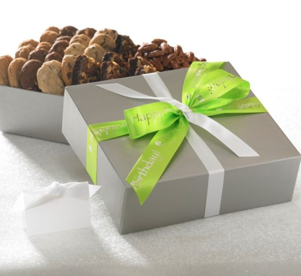 image on page for  Happy Birthday Gift w/ 21 Cookies, 6 Brownies & One Goody  / perceived to contain Gift, Chocolate, Cocoa, Dessert, Food, Fudge, Bread, Muffin