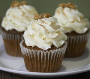 image on page for  Carrot Cupcake  / perceived to contain Cake, Cream, Creme, Dessert, Food, Icing, Cupcake, Whipped Cream, Bread, Muffin