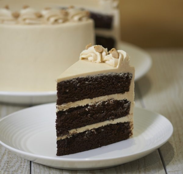 image on page for  Chocolate Peanut Butter Cake  / perceived to contain Cake, Dessert, Food, Dish, Meal, Plate, Biscuit, Brownie, Chocolate, Cookie, Fudge, Cream, Creme, Cocoa, Bowl, Icing