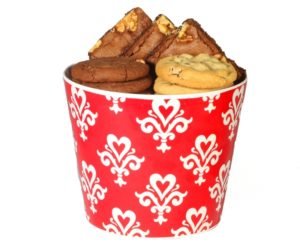 image on page for  Red Heart Damask Gift with 12 Cookies & 4 Brownies  / perceived to contain Food, Snack, Peanut Butter, Bread, Dessert, Muffin, Cream, Creme, Ice Cream