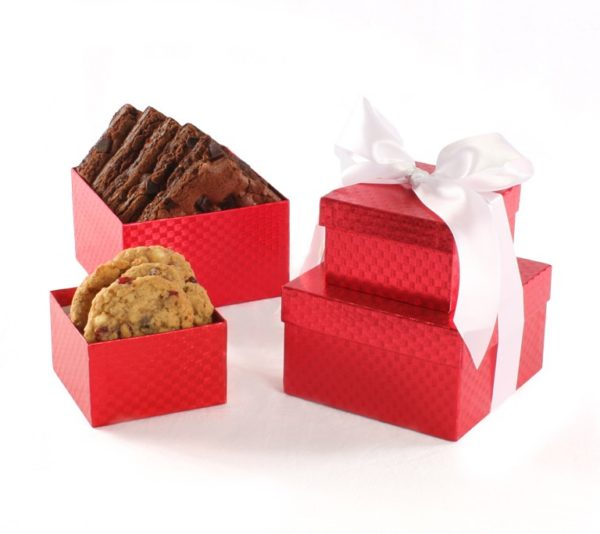 image on page for  Distinguished Red Small Gift Tower w/ 4 Cookies and 6 brownies  / perceived to contain GiftChocolateDessertFood