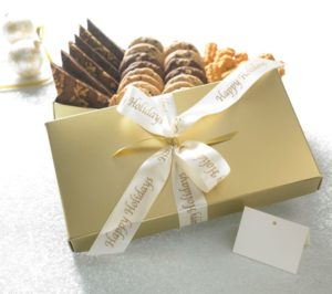 image on page for  Gold or Red Happy Holidays w/ 16 Cookies, 12 Brownies & One Goody  / perceived to contain GiftFood