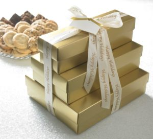 image on page for  Gold or Red Happy Holidays Ultimate Tower w/ 66 Cookies & 36 Brownies  / perceived to contain Gift