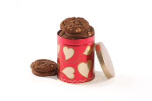 image on page for  Sweet Hearts 8 Count Cookie Tin  / perceived to contain BreadDessertFoodMuffinBeverageChocolateCupDrinkHot ChocolateBiscuitCookieCreamCremeIce Cream