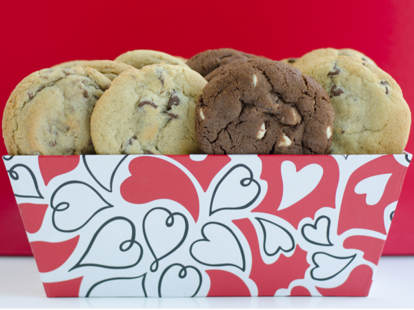 image on page for  Valentine's 16 Count Cookie Tray  / perceived to contain Biscuit, Cookie, Food, Bakery, Shop, Bread, Dessert, Muffin, Cream, Creme