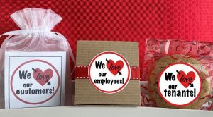 Image perceived to contain We Ine We love employees! We lore our our our customers! tenants! Sweets, Food, Confectionery, Text, Label, Plant, Outdoors, Gift on the Cookie & Brownie Gifts Archives - Cornerstone Cookie Gifts page