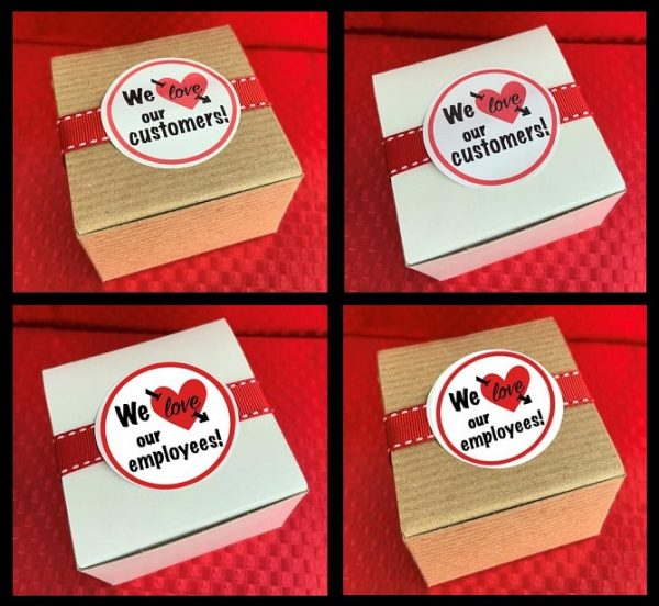 image on page for    / perceived to contain We love, our We love customers! our customers! We love We love our our employees! employees! Text, Label, Paper, Business Card, Wax Seal, Rubber Eraser, Symbol, Box, First Aid